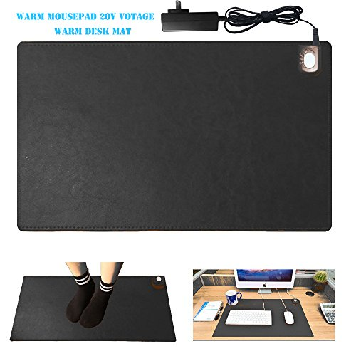 """Warm Desk Pad, kupx 24v Safe Voltage Automatic Control Warm Official Big Mouse Pad Game Mouse Pad Extended Edition Pu Gaming Mouse Mat Functional,foot Warmer Pad Warm Desk Pad 23.6""""*14""""*0.12"""" Black"""