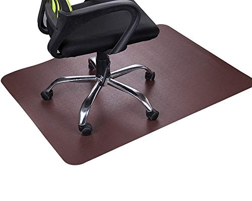 """Dark Cherry Office Chair Mat and Under Computer Desk Pad for Hardwood Floor and Heavy Appliance, Brown Anti-slip 47x35"""" Rectangular Floor Protector, Non-Toxic and No BPA, Not Suitable for Carpets"""