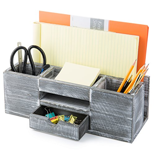 MyGift Rustic Gray Wood 6-Compartment Desktop Document & Office Supplies Organizer