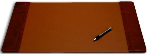 Dacasso Mocha Leather Desk Pad with Side Rails, 22-Inch by 14-Inch