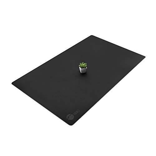"SIIG Artificial Leather Smooth Desk Mat Blotter Protecter - 36"" x 22"" Desk Pad with Non-Slip Water Repellent Protection for Office and Home - Black"