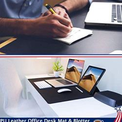 24 X 48 Inch Desk Blotter Pad on Top of Desks Waterproof PU Leather Mouse Pad ??Safety? Premium quality-made of sturdy felt PU Leather, smooth and easy to the touch, waterproof, heat-resistant & Wipeable PU Leather Desk Mat Blotters Mouse Pad Organizer, protects your desk from scratches, warmth, spills, stuffs and stains. Simple to scrub, simply wipe it with moist material to maintain it trying new.