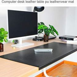 """Non-Slip Soft Leather Surface Office Desk Mouse Mat Pad with Full Grip Fixation Lip Table Blotter Protector 35.4""""x 15.8"""" Leather Mat Edge-Locked(Black)"""