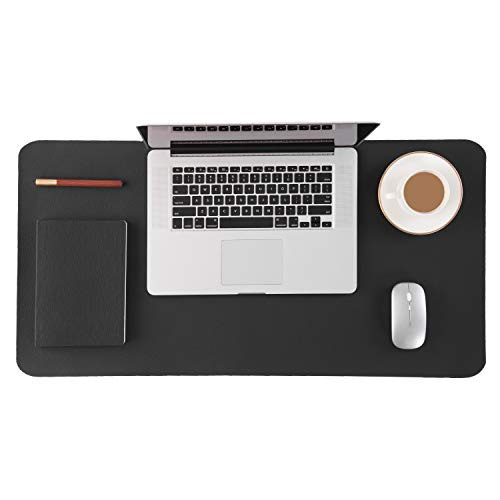 Homesure Desk Pad Mouse Pad(Genuine Leather,Black,17x35 inches,Waterproof,Non Slip Base) Desk mat Desk Blotter for Computer for Home Office Desk Supplies Gift