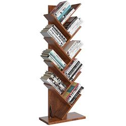 Homfa Tree Bookshelf, 9-Shelf Bookcase Rack, Free Standing Book Storage