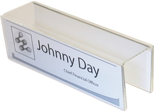 "Double-Sided Cubicle Name Plate Holders - 8-1/2"" wide x 2-1/2"" high x 3"" deep hook - PNH2085025030 (10 Pack) - Name Plates"