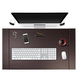"""SumacLife Executive Modern Large Matte Coffee Brown PU Leather Laptop Mat/Desk Pad 34"""" x 20"""" with Lifting Side Rails for Blotter Paper"""
