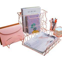 PAG Rose Gold Office Supplies 5 in 1 Metal Desk Organizer Set