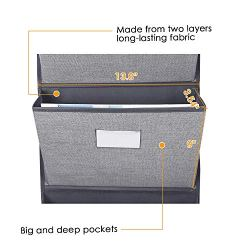"Over The Door Hanging File Organizer Wall Mounted, Office Supplies Storage Holder Pocket Chart for Magazine,Notebooks,Planners,File Folders,5 Large Pockets Grey  PERFECT WALL FILE SOLUTION- A complete of 5 massive pockets measuring 3.54"" inside width, by 9"" inside depth, for storage. The massive pockets can simply maintain 5 magazines or 600 papers every layer and we have examined the merchandise holding with out tearing, ripping, or any high quality points. Begin to hold your desktop clear and arranged in the present day! HEAVY DUTY & WELL MADE QUALITY - Measures 13.8"" Broad and 50.39"" Lengthy.Constituted of two layers long-lasting cloth with thick card board inside. Most others simply use one easy layer cloth which can crumble or tear. Two non-corrosive grommets alongside the highest for simple hanging. IDEAL FOR TEACHERS, HOMEWORK AND OFFICE- Maintain your classroom organized. Use this wall file to fit in day by day work classes for absentees to make amends for lacking work. Do not lose vital papers. Cling within the hub of your home to arrange household actions.Show scholastic magazines. Create a homework log for the week. Use every slot for a special topic for homework. SAVING MORE SPACE- Release house in your desk. Place your staplers, pens, pencils, and so on. within the pockets to maintain every thing in a single place. Excellent to extend storage choices for small workplace house and enhance your submitting system.Have one for every baby of their rooms for homework and exercise group. Maximize vertical house. Model: Homyfort - THE BEST CUSTOMER SERVICE - If for any purpose you are not fully glad together with your purchase- if it breaks, if it is broken in delivery, and even in the event you change your thoughts - merely tell us and we are going to both change it or refund your cash, your alternative! Hanging wall file organizer,Huge and deep pocket,Simple to hold,Excellent wall file resolution,Heavy obligation effectively made high quality ,Splendid for academics homework and workplace Make you're feeling organized-This over door file organizer is an ideal resolution for storing recordsdata,mails,paperwork, magazines,homework which may help you avoid wasting tabletop house and useful you discover what you need straight away. Huge and deep pockets- The massive pockets of the hanging file folder can simply maintain 5 magazines or 600 papers every layer with out stretching or shedding their form. Actual large capability. Simple to hang-The folder pocket chart comes with 2 steel hooks which are good for cubicles or over-the-door functions. You may aslo cling this on the within of your coat closet.The Grommets on the high are massive sufficient to work for most command hooks. So you should utilize Command hooks to place the hanging wall recordsdata organizer on the wall. An ideal addition to your loved ones workplace wall-You should utilize the wall file holder to retailer take-out menus, meals coupons, grocery coupons, and faculty data sheets. It is sturdy and you'll inform it should maintain up effectively."