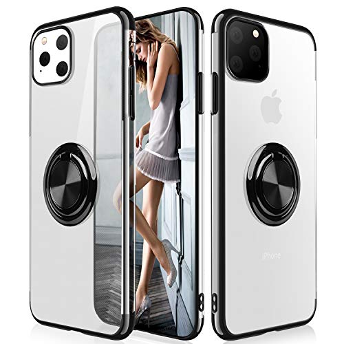 iPhone 11 Pro Case,WATACHE Clear Crystal Ultra Slim Soft TPU Electroplated Frame Case Cover with Built-in 360 Rotatable Ring Kickstand for Apple iPhone 11 Pro,Black
