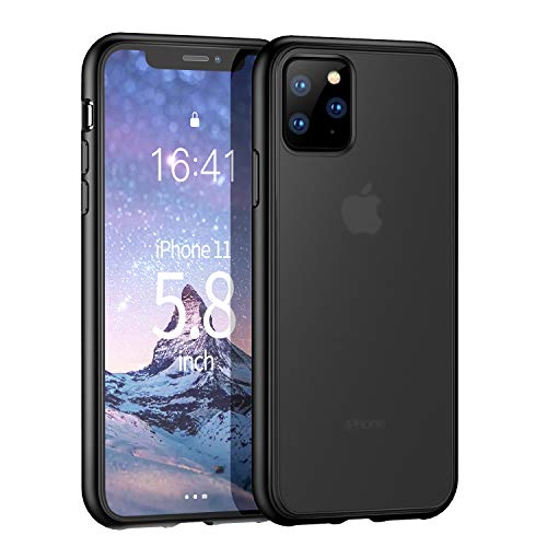 Ztotop Case for iPhone 11 Pro, [Shockproof Anti-Drop] [Fit Screen Protector] Translucent Matte Hard PC Back and TPU Bumper Cover for New iPhone 11 Pro 5.8 Inch 2019, Black