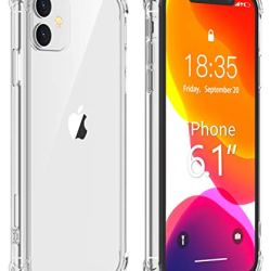 Vapesoon iPhone 11 Case,Ultra-Thin HD Clear Slim Soft TPU Protective Case, Hard PC Back + Soft TPU Frame Shock-Absorption Anti-Scratch Cover Cases for iPhone 11 (6.1 inch) 2019-Clear