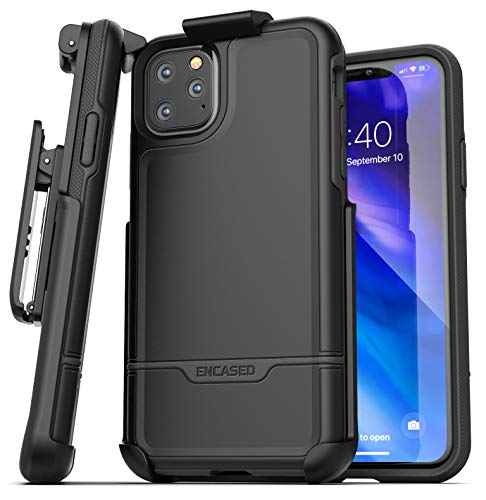 Encased iPhone 11 Pro Max Belt Clip Holster Case (2019 Rebel Armor) Heavy Duty Protective Full Body Rugged Cover with Holder (Black)