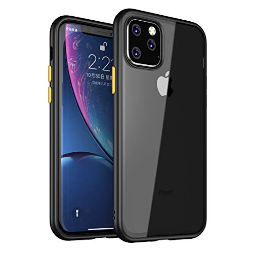 Weycolor for iPhone 11 Pro Max Case, 6.5 inch,Anti-Scratch Shockproof Cover Hard Back Panel + TPU Bumper Slim Phone case for iPhone 11 Pro Max (Clear-Black)