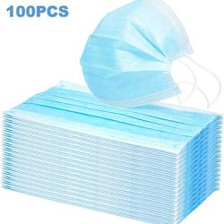 Disposable Face Masks with Elastic Ear Loop 3 Ply Breathable and Comfortable for Blocking Dust Air Pollution Protection 100 PCS