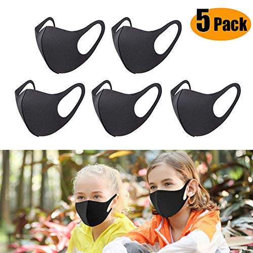 Unisex Face Mask Dust Mask Anti Pollution Mask Reusable Mouth Masks for Cycling Camping Travel Protection (Kid Size,5pcs Black)