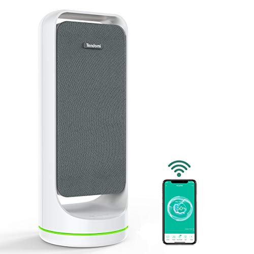 TENDOMI WiFi Smart Air Purifier with True HEPA, Fan Air Purifiers for Home, Bedroom, Office, Dual-Fan Quiet Air Cleaner for Pet, Dust, Allergies, Timer&Schedule, 6-Color Night Light, 12 Timer