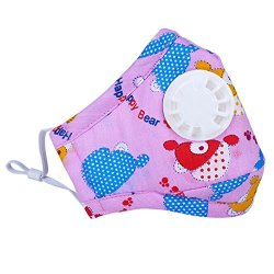FunPa 3Pcs Kids Mouth Mask Bear Cow Star Patterns PM 2.5 Anti Pollution Mask Mouth Muffle Dust Proof Mouth Cover for Kids Women Men Outdoor Cycling