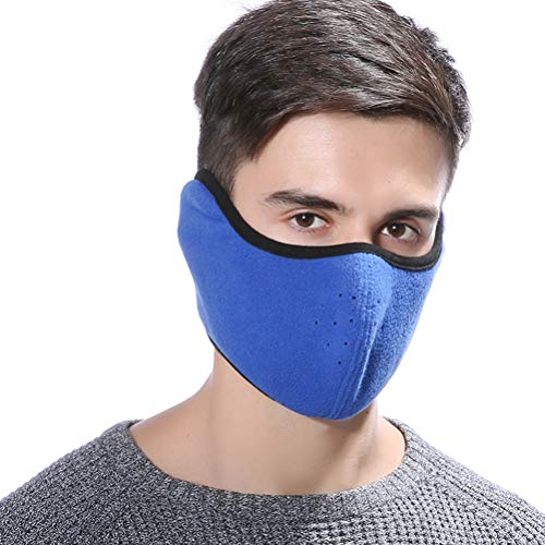 VORCOOL Windproof Dust Ski Mask Cold Weather Winter Motorcycle Half Face Mouth Warmer Fleece Mask Polyester Fleece Mask for Women Men Youth Snowboard Cycling (Dark Blue)