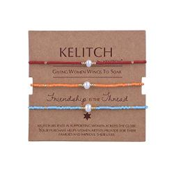 KELITCH 3 Pcs Shell Pearl Seed Beads Friendship Bracelets Handmade Adjustable String Bracelet #A
