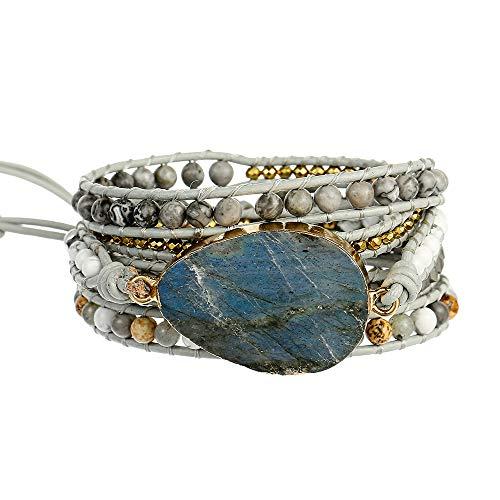 Plumiss Handmade Labradorite Stone Beaded Leather 5X Wrap Bracelet