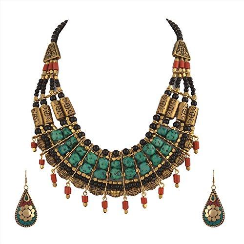 Zephyrr Tibetan Necklace and Earrings Set For Women Statement Choker Ethnic Junk Handmade Mosaic Jewelry For Girls