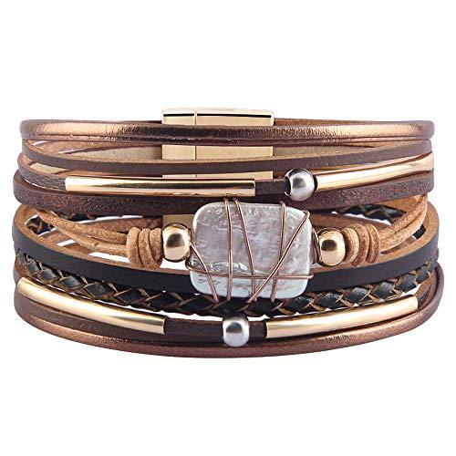 AZORA Womens Leather Cuff Bracelet Baroque Pearl Wrap Bracelets Gorgeous Gold Tube Bangle Handmade Wristbands Jewelry Bohemian Gift for Women, Teen Girls, Mother (Brown)