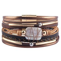 AZORA Womens Leather Cuff Bracelet Baroque Pearl Wrap Bracelets Gorgeous Gold Tube Bangle Handmade Wristbands Jewelry Bohemian Gift for Women, Teen Girls, Mother (Brown)