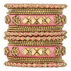 Aheli Ethnic Handmade Silk Thread Faux Stone Studded Bangle Set Chuda Indian Wedding Wear Fashion Jewelry for Women