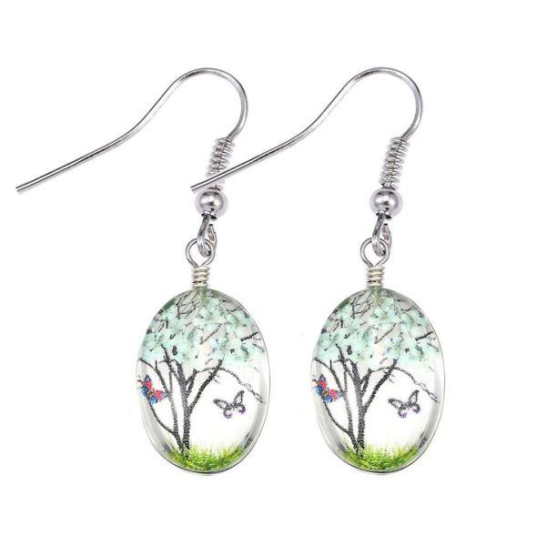 Crystal Earrings Dried Flower Drop Dangle Earrings Ethnic Style Sen Earrings Lightweight Handmade Statement Earrings Jewelry For Women Girls Gifts (Blue)