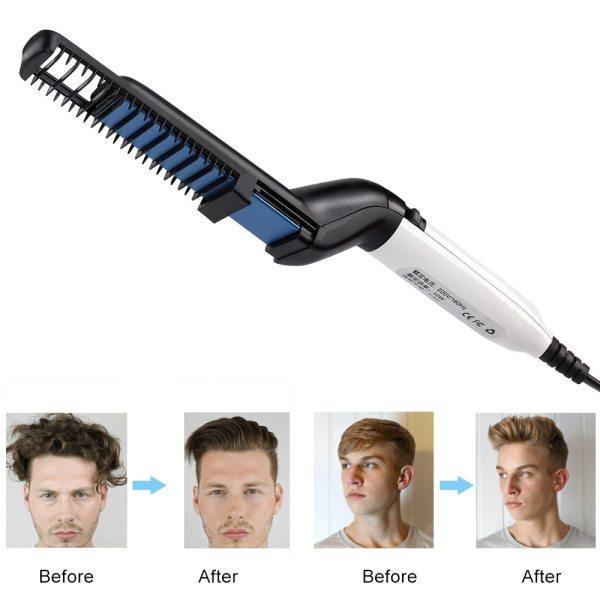 Men Quick Beard Straightener Curler Show Cap