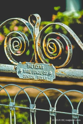 The ironwork on the gate
