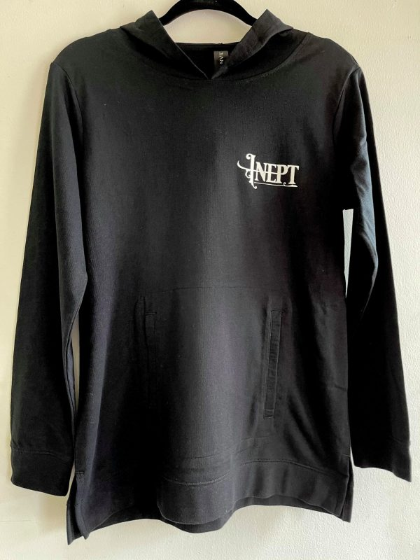 Black lightweight hoodie with white INEPT logo on the front breast pocket area