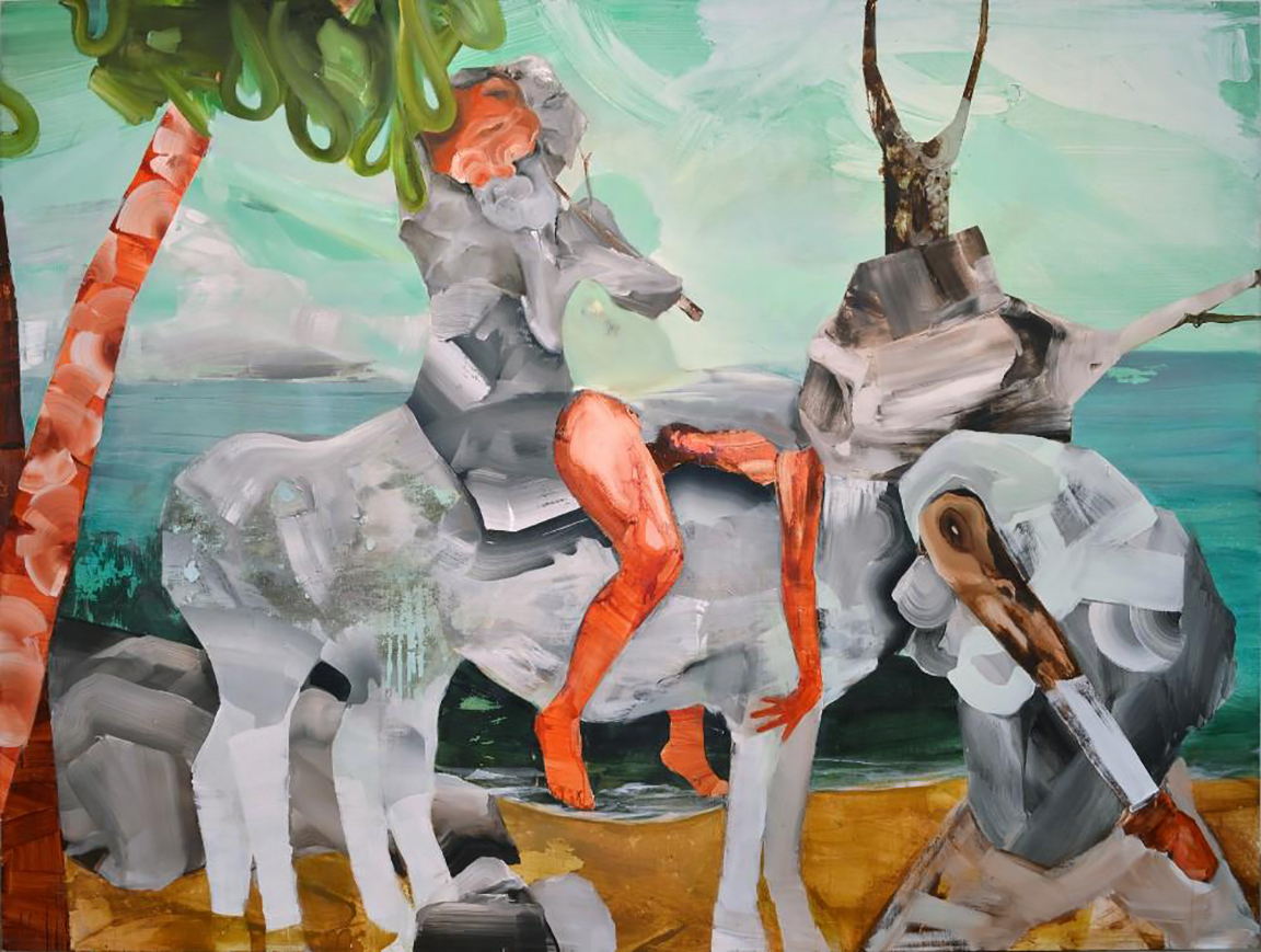 1Glaessner,2014 Donkey bearing rock jelly (panel) 72 x 96 inches (1000x754)