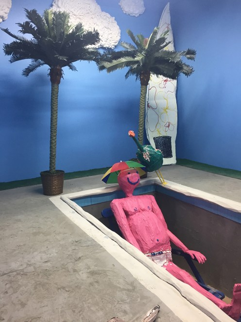 SOME PEOPLE LOVE THE BEACH BUT HATE THE OCEAN, wood, cement, digital prints,foam, fake palm trees, sand, paint, 2017