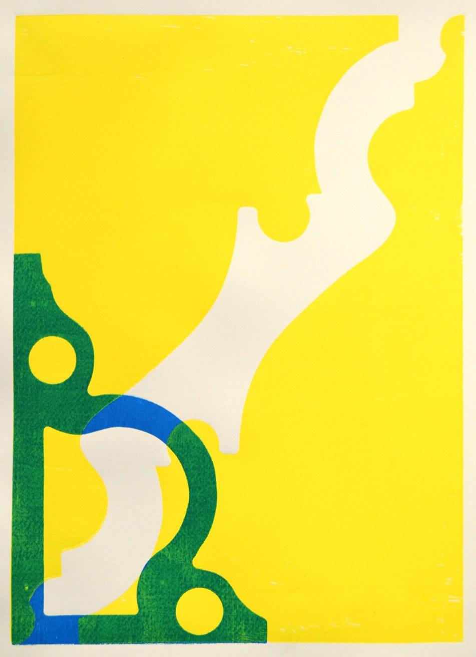 "untitled (Yellow/Blue/Green study) wood block print on Rives BFK 30 x 22"" 2017"