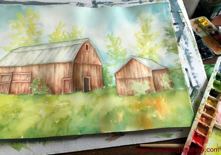 art classes for beginners watercolor barns