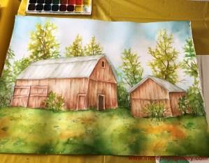 art classes: barn watercolor
