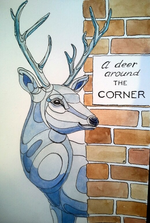 A deer around the corner by Inessa Demidova