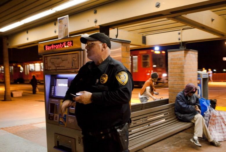 Universal Officer Jeff Metz patrols alone on Monday night, March 11, 2013
