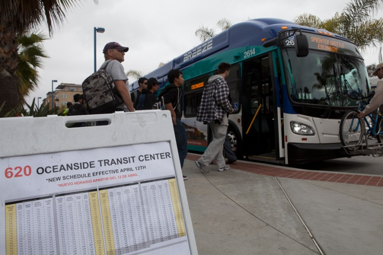 Passengers board the bus replacement service after the SPRINTER shutdown | photo by Brad Racino