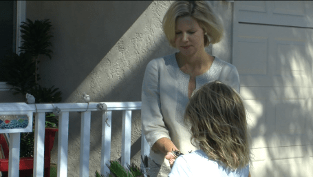 Katherine Faulconer talks with her daughter Lauren outside their Point Loma home. Credit: Claire Trageser