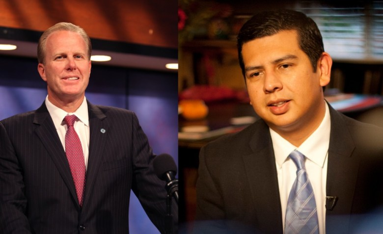 San Diego mayoral candidates Kevin Faulconer (l) and David Alvarez (r). Credit: Angela Carone, KPBS.