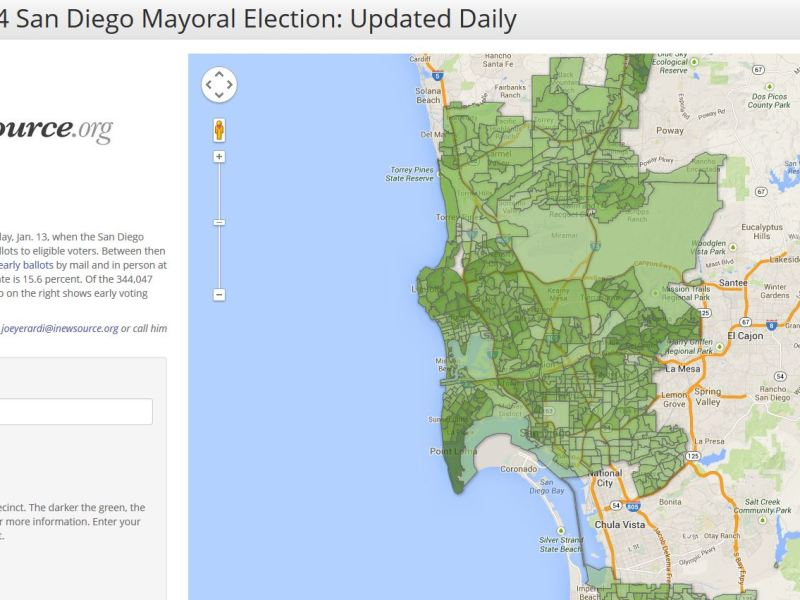 2014 San Diego mayoral election early voting map