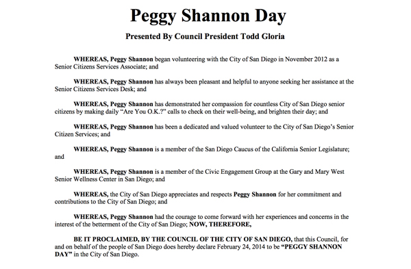 Peggy Shannon Day