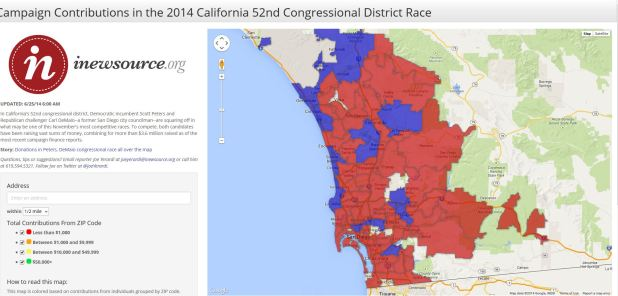 California 52nd Congressional District Campaign Contributions Map ...