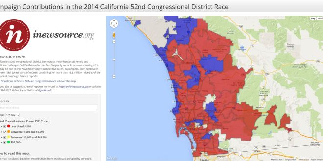 California 52nd Congressional District Campaign Contributions Map
