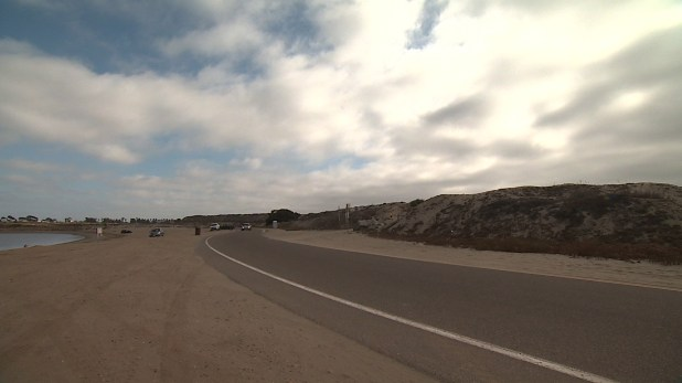 The road that encircles Fiesta Island. July 1, 2014. Credit: Guillermo Sevilla/KPBS.