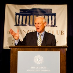 County Supervisor Ron Roberts greets supporters at the U.S. Grant Hotel.