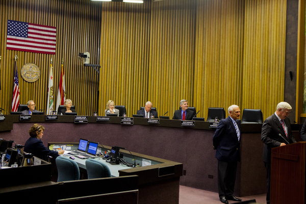 A meeting of the San Diego County Board of Supervisors. Supervisor have $15 million in discretionary funds to distribute this fiscal year. Photo by Sam Hodgson